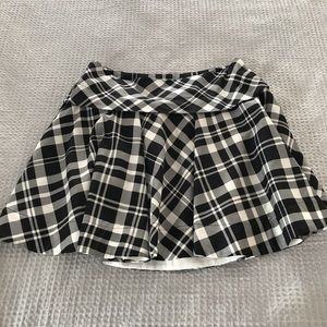 A-line, silk, plaid mini skirt